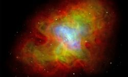 <strong>Crab Nebula Pulsar</strong><br />A neutron star, a hot pulsar spinning 30 times per second, powers the Crab Nebula, generating wisps of gas moving at half the speed of light. Credit: J. Hester (ASU), CXC, HST, NRAO, NSF, NASA